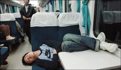 Sleeping-inside-a-train