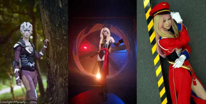 image 1 Cosplay by Venus Lim (left to right) - Jaylah, from Star Trek Beyond, Ms. Marvel from MCU, & Sheryl Nome from Macross Beyond.jpg